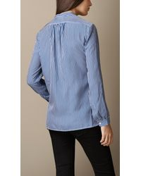 Burberry | Blue Striped Silk Shirt | Lyst