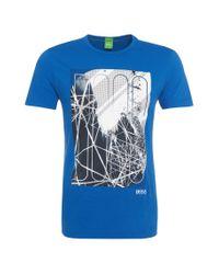 BOSS Green | Blue Cotton T-shirt: 'tee 5' for Men | Lyst