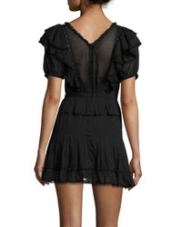 Étoile Isabel Marant - Black Naoko Smocked Ruffle Cotton Dress - Lyst
