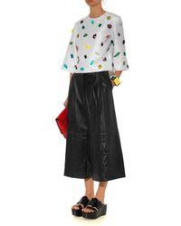 Tibi - Black Pleated Wide-leg Leather Culottes - Lyst