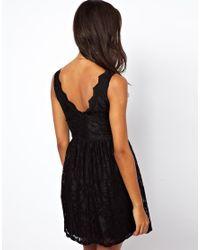 ASOS - Black Lace Scallop Skater Dress - Lyst