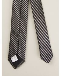 Saint Laurent - Black Diagonal Stripe Tie for Men - Lyst
