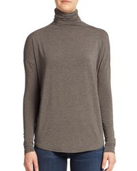 VINCE | Gray Slouch Turtleneck Cotton Top | Lyst