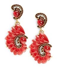 Oscar de la Renta | Red Swirl Drop Earrings | Lyst
