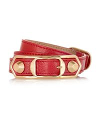 Balenciaga | Holiday Collection Triple Tour Textured-leather And Gold-tone Bracelet | Lyst
