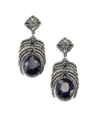 Bavna - Blue Sapphire, Champagne Diamond & Sterling Silver Earrings - Lyst