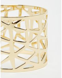 ASOS - Metallic Geo Cut Out Cuff Bracelet - Lyst