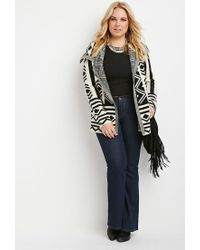 Forever 21 - Natural Plus Size Geo-patterned Cardigan - Lyst