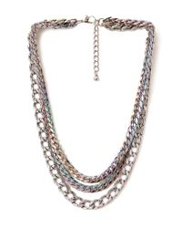 Forever 21 | Metallic Striking Oil Slick Chain Necklace | Lyst