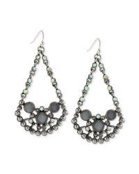 Jessica Simpson - Metallic Silvertone Crystal Stone Open Chandelier Drop Earrings - Lyst