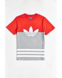 Adidas | Orange Originals Colorblock Trefoil Tee for Men | Lyst