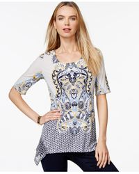 Style & Co. | Multicolor Printed Pleated Top, Only At Macy's | Lyst