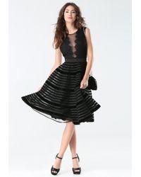 Bebe | Black Velvet Stripe Midi Dress | Lyst