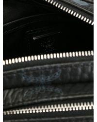 MCM - Black Logo Print Zipped Shoulder Bag - Lyst