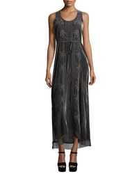 Johnny Was | Gray Kaiya Sleeveless Embroidered Velvet Maxi Dress | Lyst
