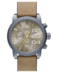 DIESEL - Brown 'Flare' Chronograph Studded Leather Strap Watch - Lyst