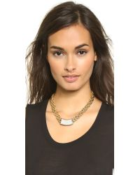 Rebecca Minkoff - Metallic Military Mix Pave Slide Necklace - Gold/crystal - Lyst
