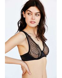Urban Outfitters - Black Eyelash Lace And Satin Underwire Bra - Lyst