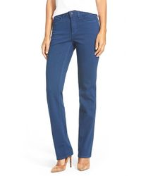 NYDJ | Blue 'marilyn' Stretch Twill Straight Leg Pants | Lyst