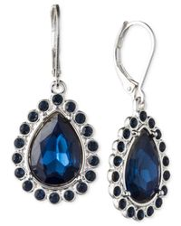 Nine West - Silver-tone & Blue Stone Teardrop Earrings - Lyst