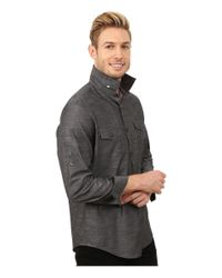 Calvin Klein - Gray Slub Twill Double Pocket Roll-sleeve Woven Shirt for Men - Lyst