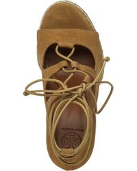 Tory Burch | Natural Raya Lace-Up Wedge Sandals | Lyst