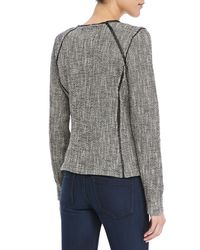 Maison Scotch - Gray Boucle Zip Sweater Blazer - Lyst