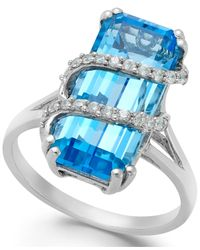 Macy's - Blue Topaz (8 Ct. T.w.) And Swarovski Zirconia Accent Ring In Sterling Silver - Lyst