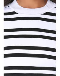 Bebe | Black Striped Crew Sweater Top | Lyst