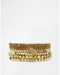 Pieces - Metallic Vanka Bead & Tassle Multipack Bracelet - Lyst