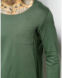 ASOS | Green Super Longline Long Sleeve T-shirt With Boat Neck And Pocket for Men | Lyst