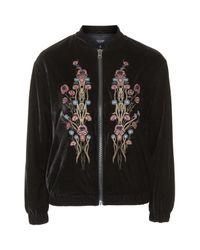 TOPSHOP - Black Velvet Embroidered Bomber Jacket - Lyst