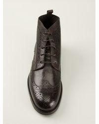 Canali - Brown Perforated Lace-Up Boots for Men - Lyst
