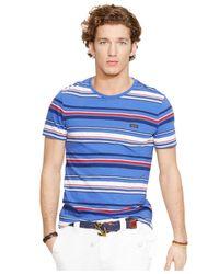 Polo Ralph Lauren - Blue Multi-striped Pocket T-shirt for Men - Lyst