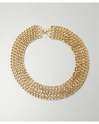 Joanna Laura Constantine | Metallic Gold and Crystal Four Strand Chain Bib Statement Necklace | Lyst