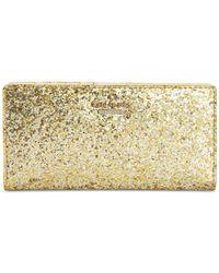 kate spade new york | Metallic Glitter Bug Stacy Continental Wallet | Lyst