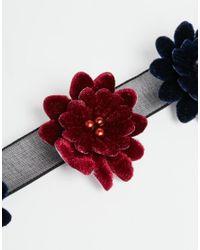 ASOS | Red Velvet Flower Choker Necklace | Lyst