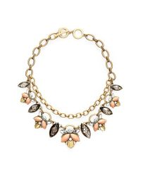 Anne Klein | Metallic Stone & Chain Statement Necklace - Brass Ox/ Coral Multi | Lyst