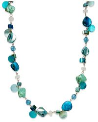 Style & Co. | Style&co. Gold-tone Blue Green Long Shell Rope Necklace | Lyst