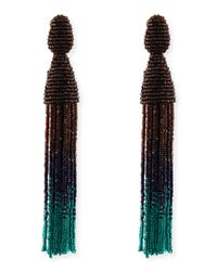 Oscar de la Renta | Multicolor Long Ombre Bead Tassel Clipon Earrings | Lyst