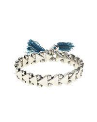J.Crew - Blue Stretch Triangle Tassel Bracelet - Lyst