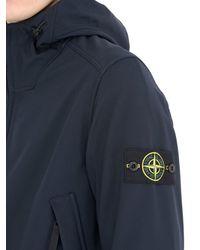 Stone Island - Blue Hooded Zipped Softshell Jersey Jacket for Men - Lyst