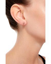 Loquet London | Metallic 14k Gold And Diamond Linked Hearts Stud Earring | Lyst