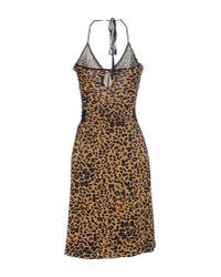 John Galliano - Brown Short Dress - Lyst