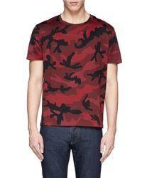 Valentino - Red Camouflage T-shirt for Men - Lyst