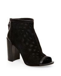 Steven by Steve Madden | Natural Foxxi Leather And Mesh Peeptoe Booties | Lyst