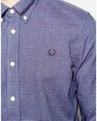 Fred Perry - Shirt In Slim Fit With Micro Gingham In Mid Imperial Blue for Men - Lyst