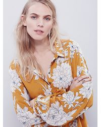 Free People   Yellow Shake It Printed Long Sleeve Mini Dress   Lyst