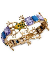 Betsey Johnson | Green Gold-Tone Frog Stretch Bracelet | Lyst
