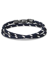 Tod's - Blue Woven Leather Wrap Bracelet for Men - Lyst